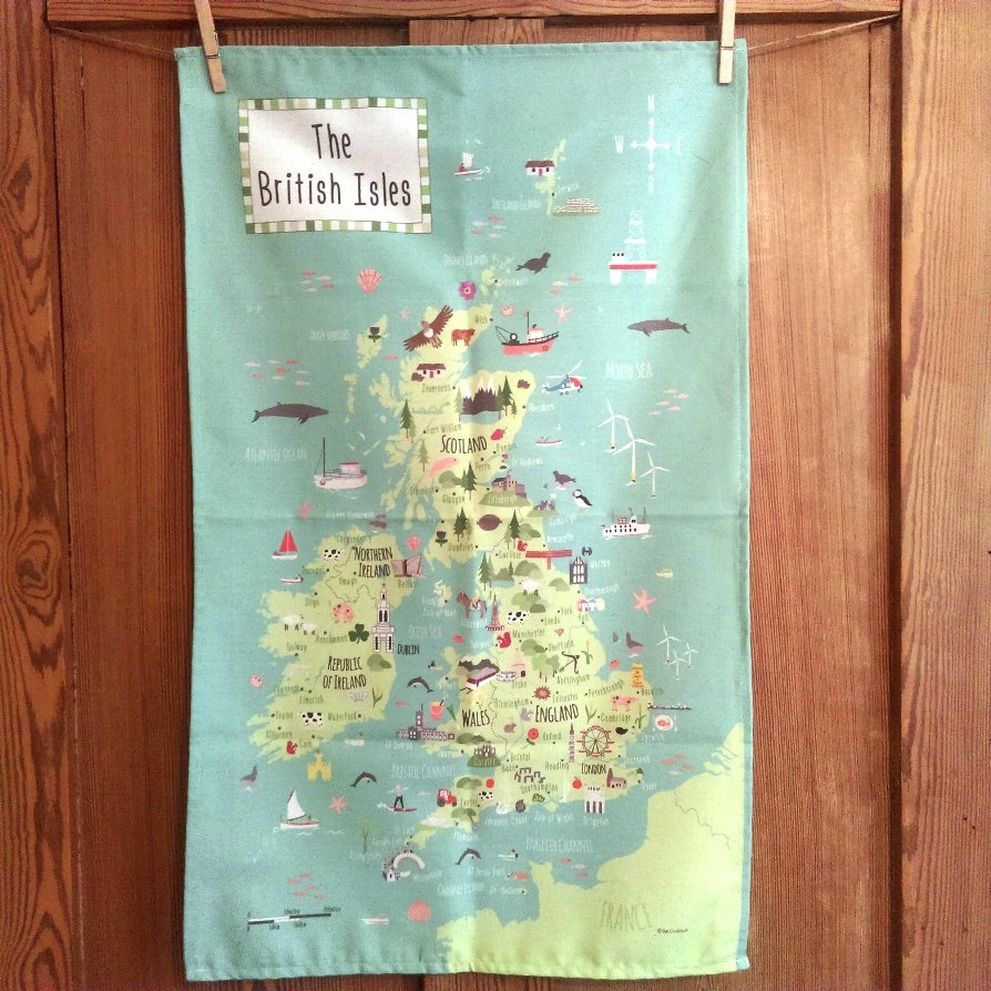 illustrated map of the British Isles tea-towel