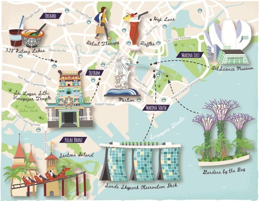 Illustrated map of Singapore