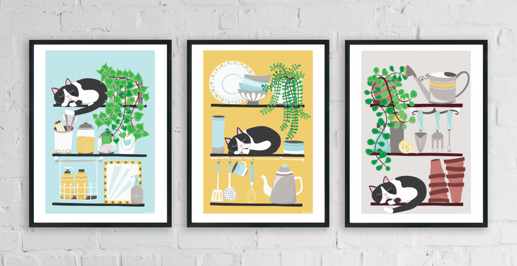 Illustrated cat prints